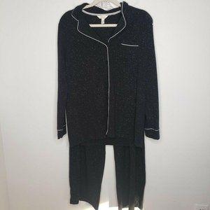 Soma Embraceable Pajama Set Speckles Cotton Black